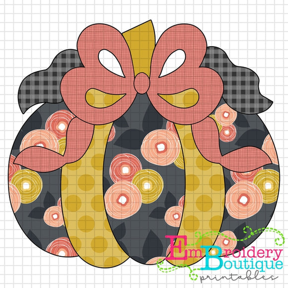 Pumpkin Bow Floral Printable Design PNG