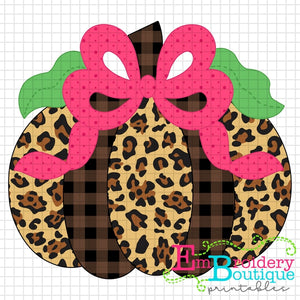 Pumpkin Bow Pink Printable Design PNG - embroidery-boutique