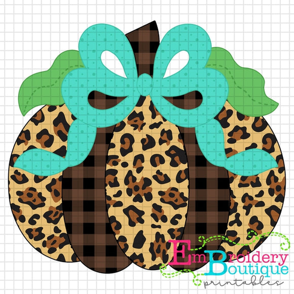 Pumpkin Bow Teal Printable Design PNG - embroidery-boutique