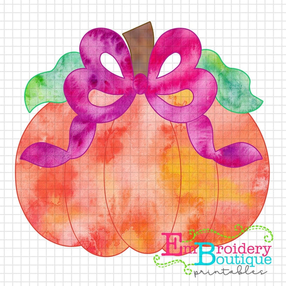Pumpkin Bow Watercolor Printable Design PNG - embroidery-boutique