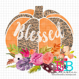 Pumpkin Floral Blessed Printable Design PNG, Printable