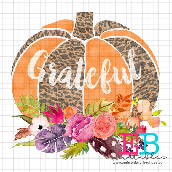 Pumpkin Floral Grateful Printable Design PNG
