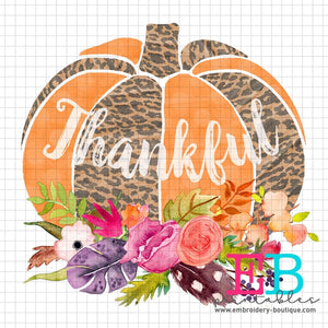 Pumpkin Floral Thankful Printable Design PNG