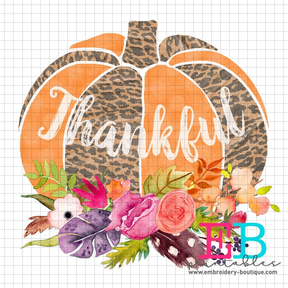 Pumpkin Floral Thankful Printable Design PNG - embroidery-boutique