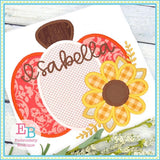 Pumpkin Sunflower Satin Applique, Applique