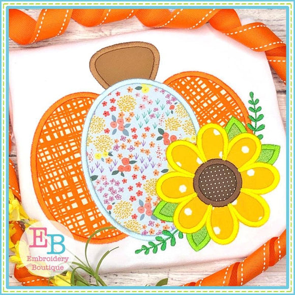 Pumpkin Sunflower Satin Applique