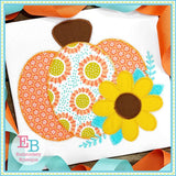 Pumpkin Sunflower Zigzag Applique
