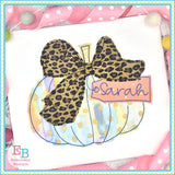 Pumpkin Big Bow Bean Applique
