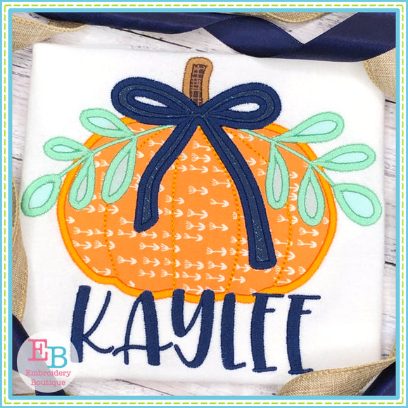 Pumpkin Bow Leaves Satin Stitch Applique, Applique