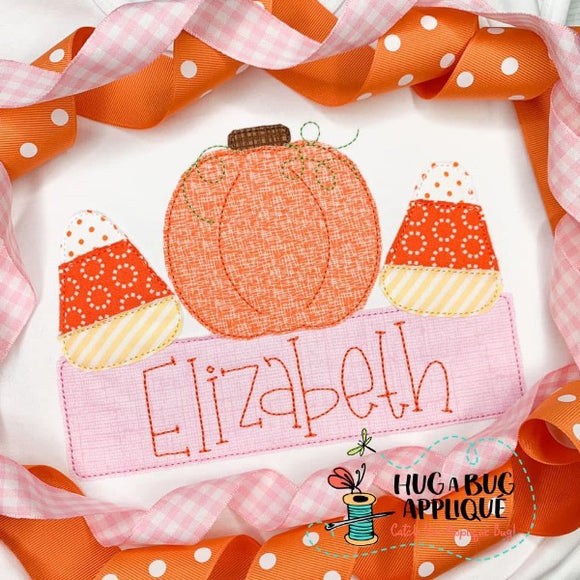 Pumpkin Candy Box Bean Stitch Applique Design, Applique