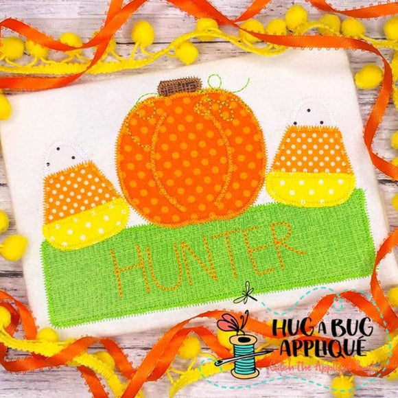 Pumpkin Candy Box Zig Zag Stitch Applique Design, Applique