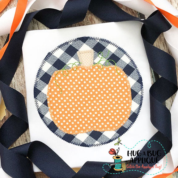Pumpkin Circle Zig Zag Stitch Applique Design