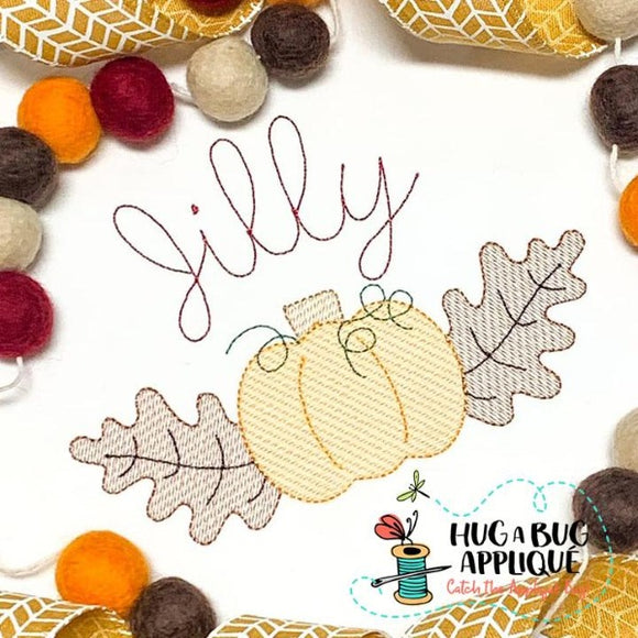 Pumpkin Leaves Sketch Stitch Embroidery Design, Embroidery