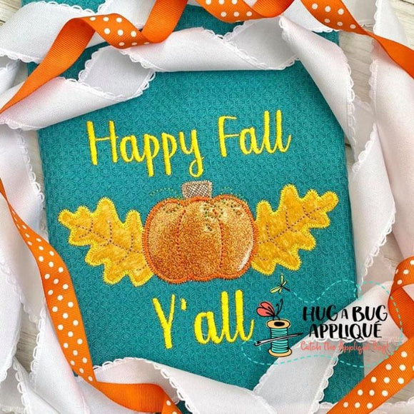 Pumpkin Leaves Zig Zag Stitch Applique Design, Applique