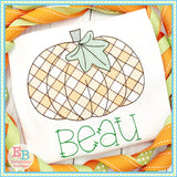 Pumpkin Plaid Sketch Embroidery Design, Embroidery