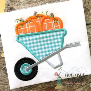 Pumpkins Wheelbarrow Applique Design, Applique