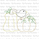 Pumpkin Birds Bean Stitch Applique Design, Applique