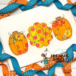 Pumpkin Scallop Trio Bean Stitch Applique Design, Applique