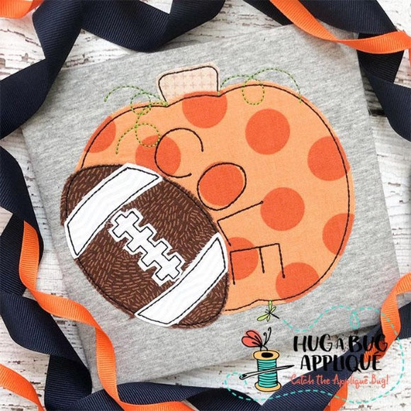 Pumpkin Short Football Bean Stitch Applique Design, Applique
