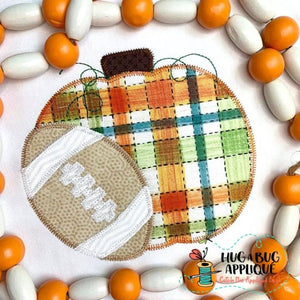 Pumpkin Short Football Zig Zag Stitch Applique Design, Applique