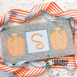 Pumpkin Square Trio Zig Zag Stitch Applique Design, Applique