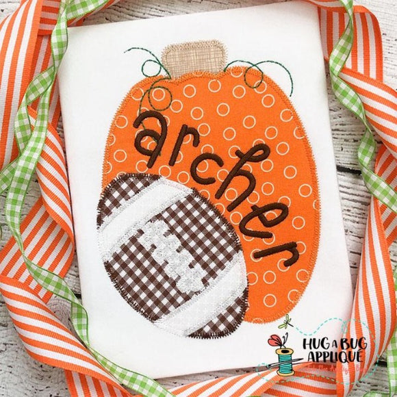 Pumpkin Tall Football Zig Zag Stitch Applique Design, Applique