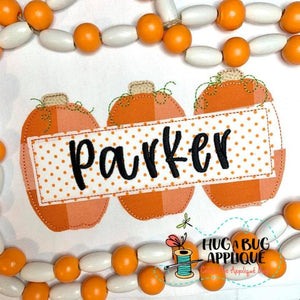 Pumpkin Trio Box Bean Stitch Applique Design, Applique