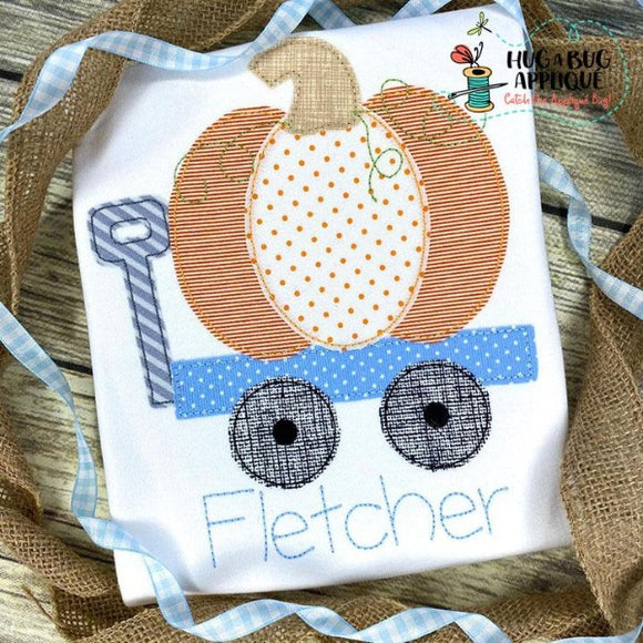 Pumpkin Wagon Bean Stitch Applique Design