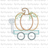 Pumpkin Wagon Zig Zag Stitch Applique Design, Applique
