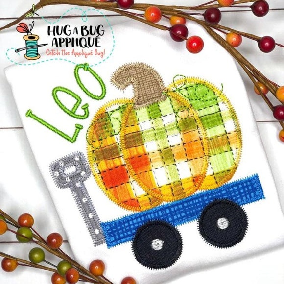 Pumpkin Wagon Zig Zag Stitch Applique Design