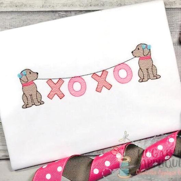 Pups Girl XOXO Sketch Embroidery Design, Embroidery