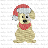 Dog Santa Hat Sketch Stitch Embroidery Design, Embroidery