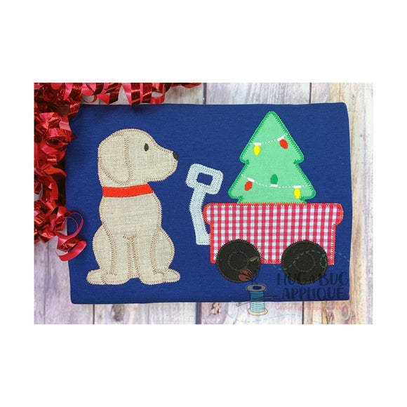 Pup Wagon Tree Zig Zag Stitch Applique Design, Applique