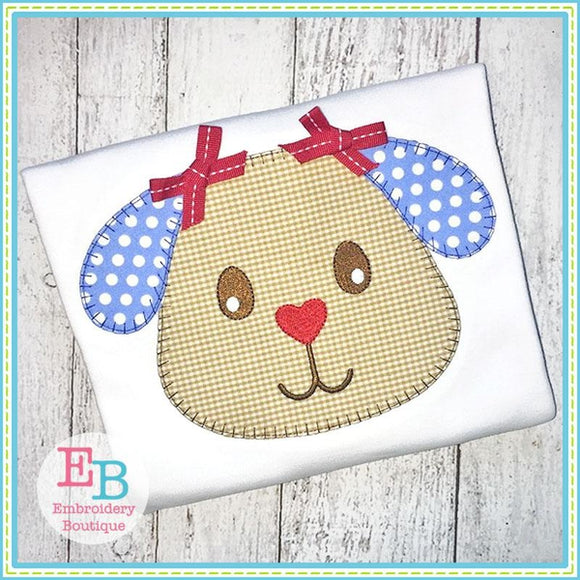 Puppy Head Blanket Stitch Applique - Embroidery Boutique