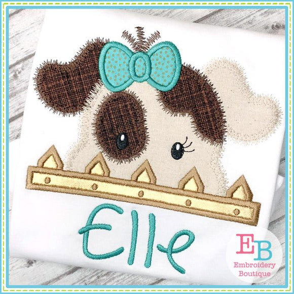 Dog Girl Peeker Applique