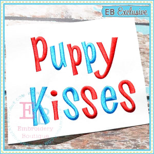 Puppy Kisses Embroidery Font-Embroidery Boutique