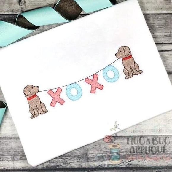 Pups XOXO Sketch Embroidery Design, Embroidery