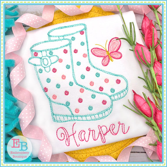 Rainboots Watercolor Embroidery Design, Embroidery