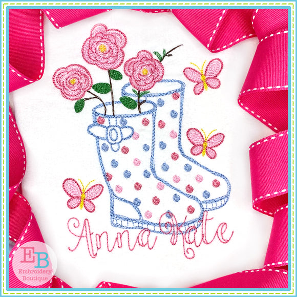 Rainboots 2 Flowers Watercolor Embroidery Design, Embroidery