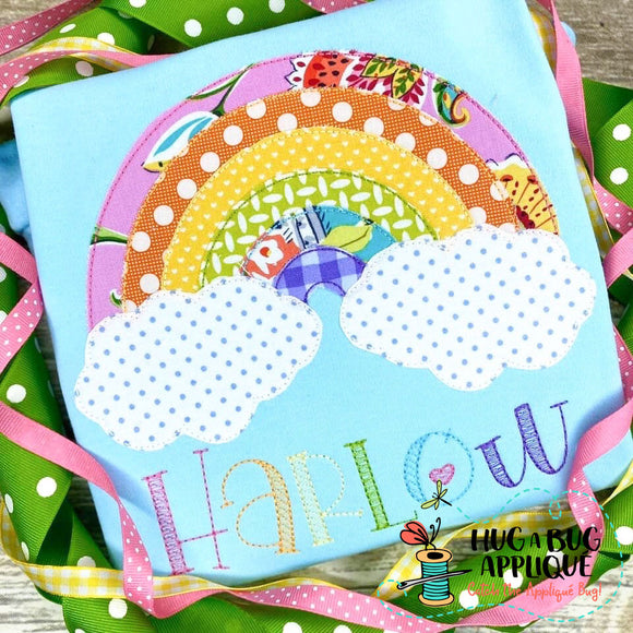 Rainbow Bean Stitch Applique Design
