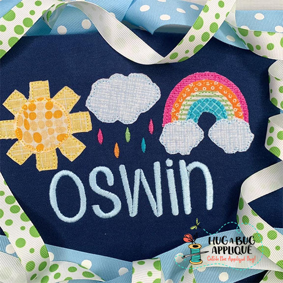 Rainy Day Trio Bean Stitch Applique Design, Applique