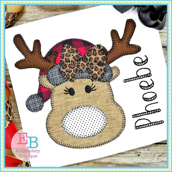 Reindeer Hat Bow Blanket Stitch Applique, Applique