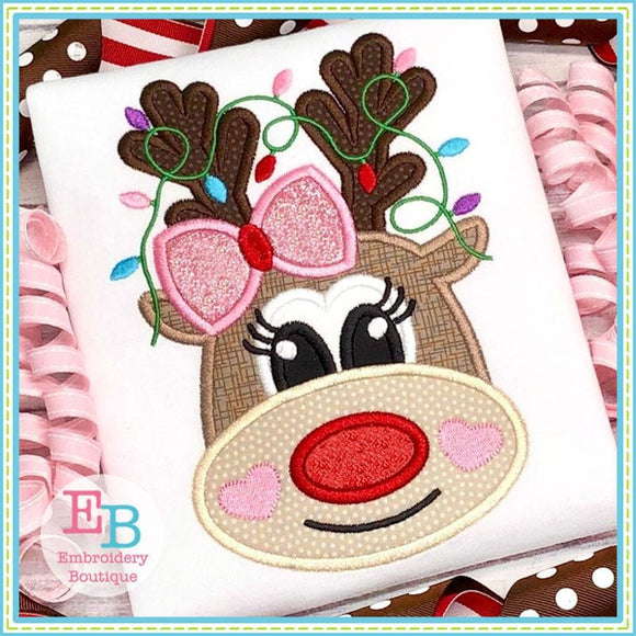 Reindeer Heart Cheeks Applique