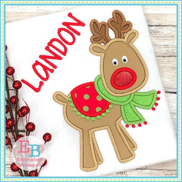 Reindeer Scarf Satin Applique