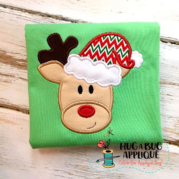 Reindeer Santa Hat Applique Design, Applique