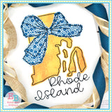 Big Bow Rhode Island Bean Stitch Applique, Applique