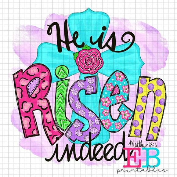 He Is Risen 2 with Background Sublimation Printable Design PNG