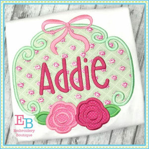 Rose Bow Frame Applique - embroidery-boutique