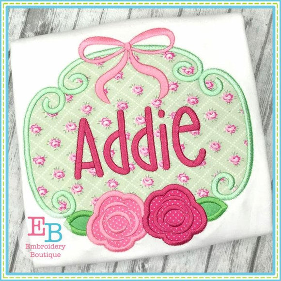 Rose Bow Frame Applique