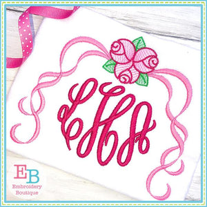 Roses with Ribbons Motif Design